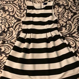Stylish black and white skater dress